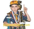 pinewood derby winner with trophy picture