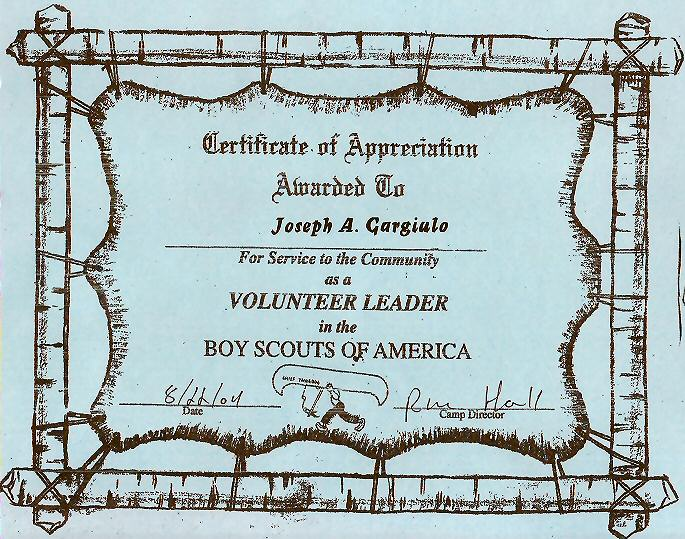 Boy Scouts of America volunteer leader certificate