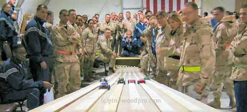 Military pinewood derby race