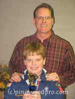 father and son pinewood derby winners image