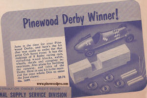 first pinewood derby ad -- history 1955