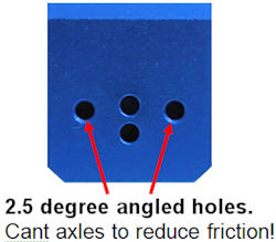 drill 2.5 degree angled axle holes
