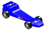 blue lightning pinewood derby car image