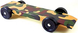 fully built pinewood derby car with camoflauge body skin