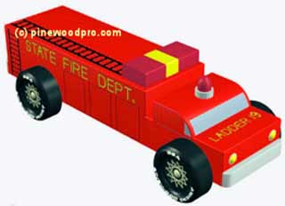 Firetruck pinewood derby car