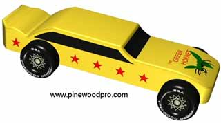 Green Hornet pinewood derby car