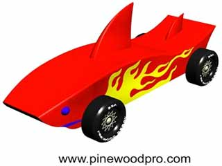 pinewood derby shark template - car designer with speed simulator