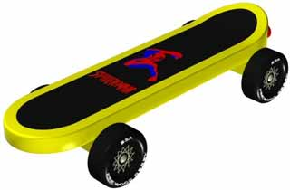 Skateboard pinewood derby car