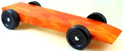 fully built pinewood derby car with hot flames body skin