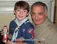 Father and Son pinewood derby team