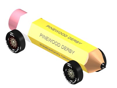 Pencil pinewood derby design