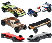 pinewood derby car kits, fully built cars