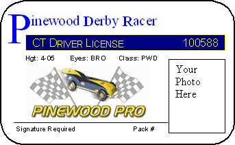 pinewood derby car racing license