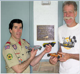 pinewood derby plaque at Scout House