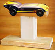 pinewood derby car on stand picture