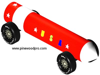 rocket pinewood derby design