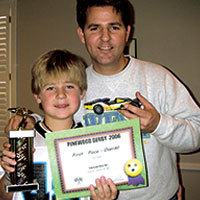 pinewood derby father and son first place winner