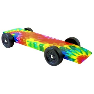 fully built pinewood derby car with tie-dye body skin