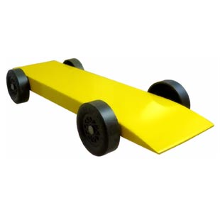 fully built yellow pinewood derby car