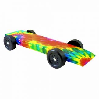 Fully Built Tie Dye Pinewood Derby Car