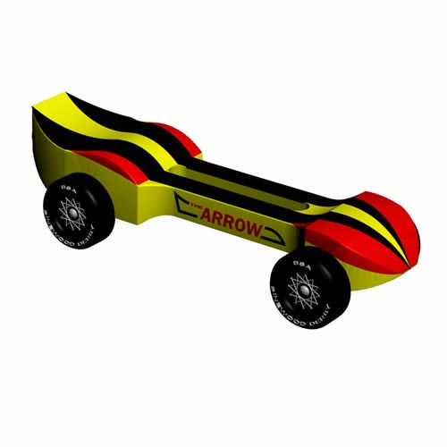 Straight Drilled Pinewood Derby Car Pre-cut Car Body with Weights ARROW