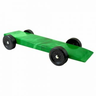 green flames fully built pinewood derby car